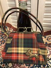 Plaid Scottish Scotty Terrier Vintage Antique Mini Purse Handbag Mid Century