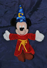 Peluche Doudou Mickey DISNEY DISNEYLAND Paris Sorcier Chapeau Bleu 22 Cm  TTBE