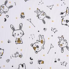 Baumwollstoff BIGAO Bär Hase Katze weiß schwarz ockergelb 1,5m Breite