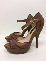 WOMENS FRENCH CONNECTION BROWN PURPLE LEATHER HIGH HEEL PLATFORM SHOES UK 6 EU39