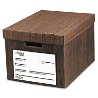 Universal Heavy-Duty Storage Box Letter/Legal Fiberboard Woodgrain 12/Carton