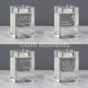 Personalised Candle Tea Light Holders Any Occasion, 10 Designs, Engraved Message
