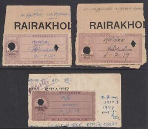 Indian States Rairakhol KGV Revenue Court Fee Overprints on India 1a 8a 1½r Used