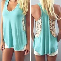 Casual Women T-Shirt Ladies Summer Sleeveless Lace Loose Vest Blouse Tank Tops