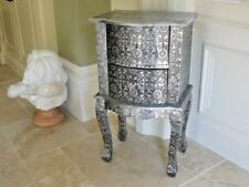 EMBOSSED SILVER CHIC FRENCH METAL FURNITURE BOW FRONT BEDSIDE WITH 2 DRAWS 3081