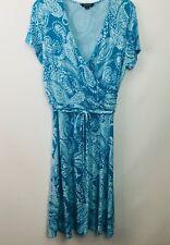 Lands' End Surplice Dress womens 10-12 Aqua Blue Paisley Short Sleeve Faux Wrap