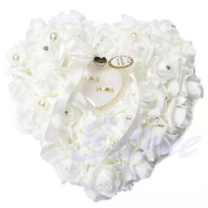 Heart Shape Ring Cushion Romantic Pillow Ring Holder Rose Wedding Supplies New