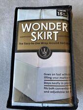 "Wrap-Around Wonderskirt Twin Size Bed Skirt, 15"" Drop, Light Blue"
