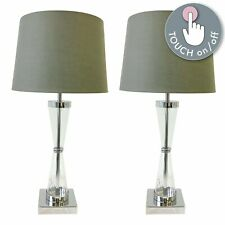 Pair of Touch Control Bedside Lights Table Lamps Modern Chrome Grey Shade
