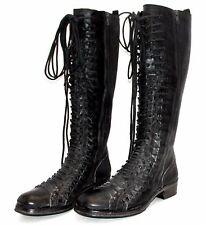 ANN DEMEULEMEESTER Black Leather Triple Lace Combat Military Biker Boots 38