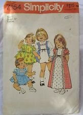SIMPLICITY Vintage sewing Pattern #7154 Toddller Girl Dress Diaper Cover size 1