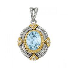 NEW 14k TWO-TONE GOLD DIAMOND & SWISS BLUE TOPAZ OVAL PENDANT NECKLACE