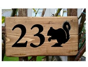 Personalised Squirrel Number House Sign Name Plaque Porch Conservatory