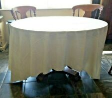 """Tablecloth & 10 matching Napkins Ivory 110"""" x120"""" Oval"""