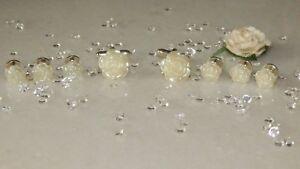S/P Cufflinks & Dress/Dinner Shirt Studs & 10mm & 16mm Cream Resin Flower-Tuxedo