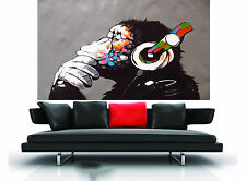 CANVAS Banksy Street Art Print DJ MONKEY chimp PAINTING 160cm x 100cm commission
