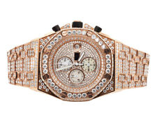 Men's Jewelry Unlimited Rose Gold Steel Simulated Diamond Chronograph Watch 43MM