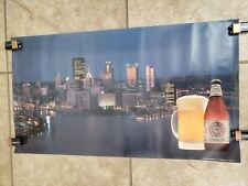 Pittsburgh Brewing Vintage City Skyline Poster Iron City Beer Red Eye Bottle