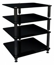 Norstone Bergen 2 AV Stand Black Glass Hi Fi Seperates for AV components 4 Shelf