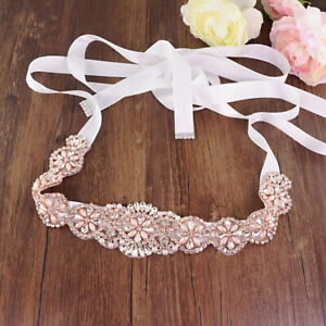Rose Gold /Gold Crystal Bridal Sash,Wedding Dress Sashes Belts Bridesmaid Belt