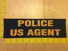 """Police US Agent Patch -3"""" X 10"""" On Hook Backing,Yellow On Royal Blue (item 1213)"""