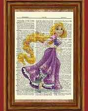 Repunzel Dictionary Art Print Vintage Book Poster Picture Disney Princess