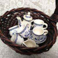 Vintage, Blue Willow, 13pc Child's Tea Set -  Brown Wicker Basket