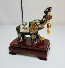 New listing Chinese Sacred Elephant Floral Enamel Cloisonne Figurine & Wooden Base Stand