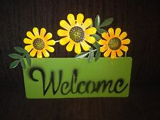 New listing Green Welcome Plaque Garden Hanging Decoration With Yellow Flowers