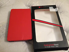 Google Nexus 7 Leather Travel Cover Case Genuine Red With Stand NEW