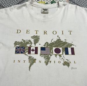 Vintage 90s Detroit International Single Stitch Graphic T Shirt Men's XL Tee