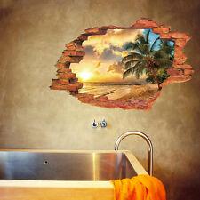 Wandtattoo Wandaufkleber 3D Fenster Strand Sonne Meer Wohnzimmer Schlafzimmer #