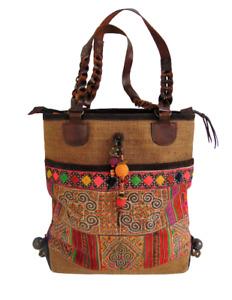 Ethnic Shoulder Handbag Boho Tapestry Purse Jute Leather Vintage Kilim Charms
