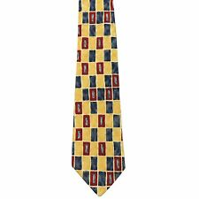"""Perry Ellis Men's 100% Silk Novelty Neck Tie Yellow Blue Red Classic 4"""" x 57"""""""
