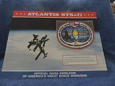 """Atlantis STS-71"" OFFICIAL NASA SPACE EMBLEM PATCH & FACT SHEET"