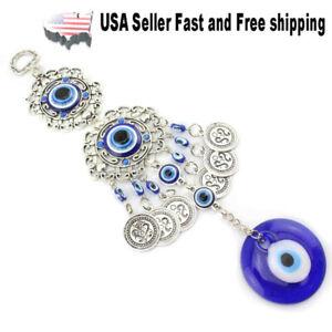 Turkish Blue Evil Eye (Nazar) Flower Amulet Ornaments Car Charm Home Wall Decor