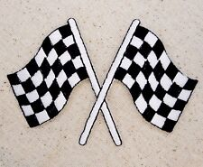Medium - Racing Flags - Crossed/Checkered Iron on Applique/Embroidered Patch