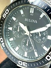 Bulova Men's Watch 98A249 Quartz Chronograph Black Dial Gunmetal Stainless Steel