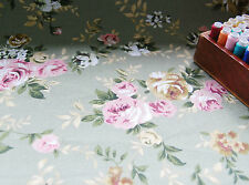 FURNISHING Heavy Cotton Canvas Fabric SAGE GREEN COTTAGE ROSES HALF METRE#60