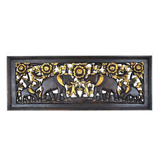 Wooden Hand Carved Picture of Elephants Wall Art Home Decor.