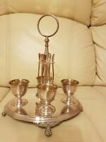 Antique Set of 4 Silver Plated Egg Cups with Spoons and Stand