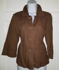 JJILL brown Linen Flare Sleeve Peplum Blazer Jacket Top. XS