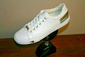 Tommy Hilfiger White Silver Gold Stripe Tennis Shoes TWLADDI-R Size 7 1/2M
