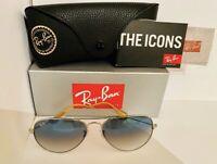 Ray-Ban Aviator Sunglasses Silver Frame / Light Blue Gradient RB3025-001/3F-58
