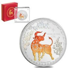 2021 Niue 1 oz Proof Colorized Lunar Year of the Ox $2 Silver Coin (w/Box & COA)
