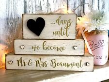 Mr & Mrs wedding countdown personalised blocks sign rustic shabby