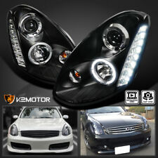 For 2005-2006 Infiniti G35 4Dr LED DRL+Halo Projector Headlights JDM Black
