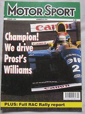 Motor Sport Magazine 01/1994 featuring TVR Chimaera, Williams FW15C, Ferrari