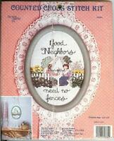 GOOD NEIGHBORS NEED NO FENCES Counted Cross Stitch Kit New Berlin Co #30784 New