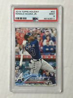 RONALD ACUNA JR 2018 Topps Holiday SNOWFLAKE SP RC! PSA MINT 9! #HMW50! BRAVES!